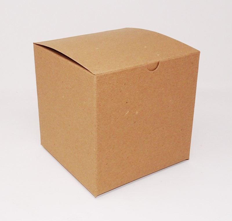 4 x 4 x 4 Kraft Pinstripe One-Piece Giftware Boxes (Case of 100)