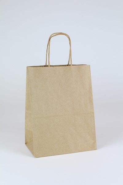 8 x 4.75 x 10.5 Recycled Brown Kraft Shopping Bags