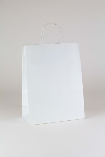 10 x 5 x 13 White Kraft Shopping Bags (Case of 250)