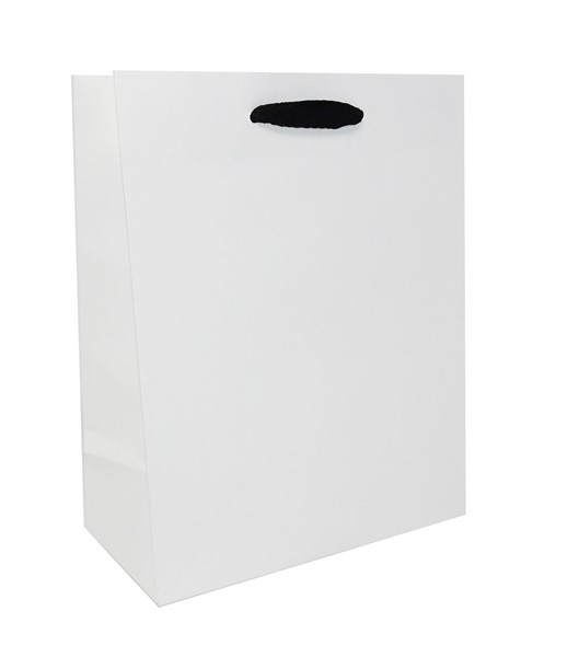 8 x 4 x 10 White Kraft Ribbon Handle Eurototes (Case of 100)